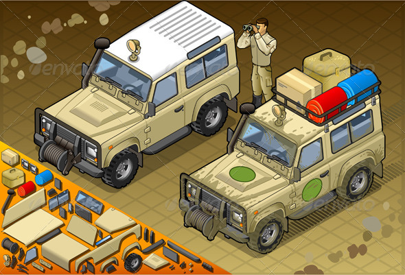 GraphicRiver Isometric Safari Jeep with Guide in Front View 5120156