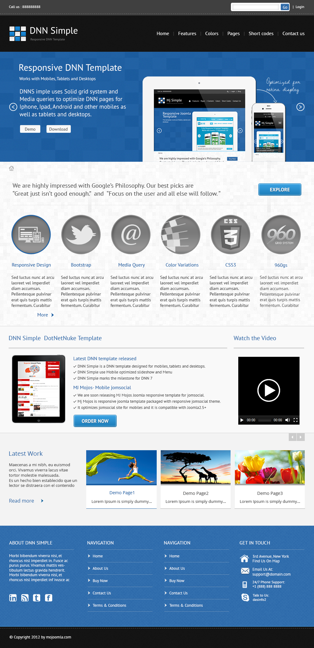02 home page DNN Simple   Responsive DotNetNuke Theme