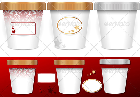 GraphicRiver Three Generic Cups for Ice Cream with Labels 5120333