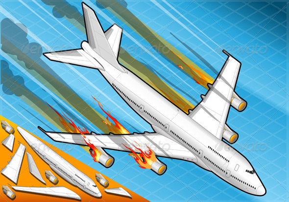 GraphicRiver Isometric Airplane Falling Down with Fired Engines 5120341