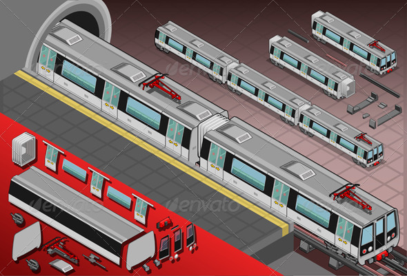GraphicRiver Isometric Metro Wagons in the Station 5120366