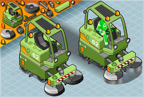 GraphicRiver Isometric Mini Cleaner Machine with Man at Work 5120372