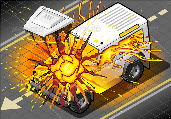 GraphicRiver Isometric White Cross Country Vehicle in Explosion 5120387