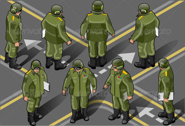 GraphicRiver Isometric Set of Military Man in Eight Position 5120592