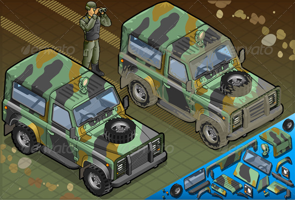 GraphicRiver Isometric Military Jeep with Soldier in Front View 5120603