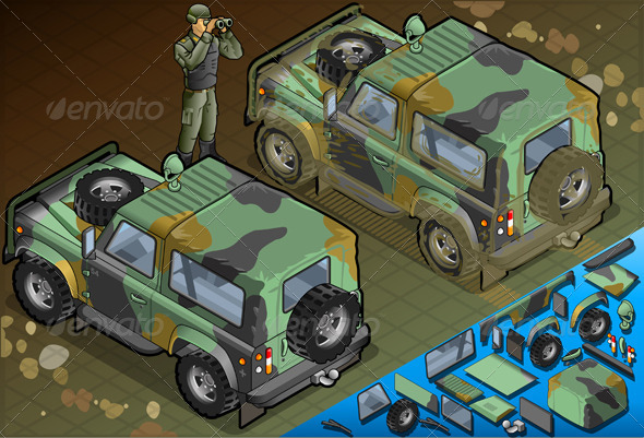 GraphicRiver Isometric Military Jeep with Soldier in Rear View 5120607