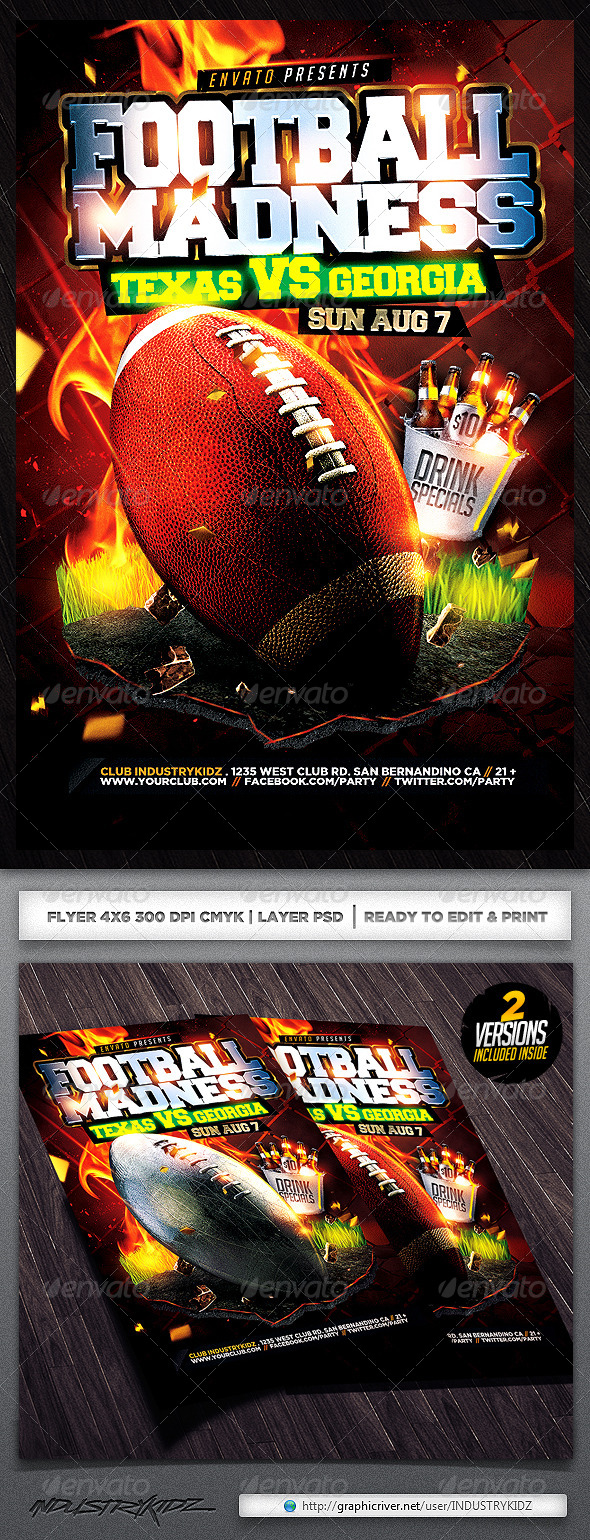 GraphicRiver Football Madness Flyer Template 5120691