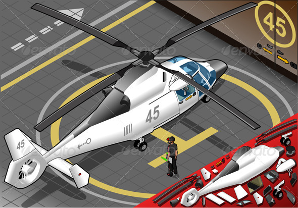 GraphicRiver Isometric White Helicopter Landed in Rear View 5120698