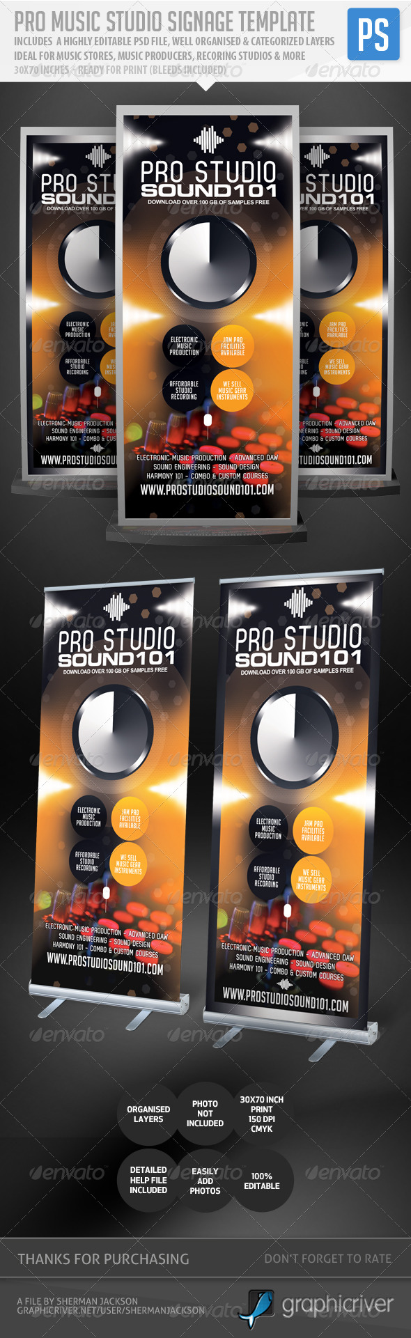GraphicRiver Pro Music Studio Music Expo Signage Template 5121305