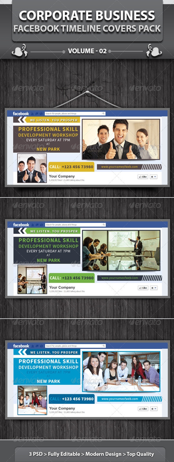 GraphicRiver Corporate Business Facebook Timeline Cover Pack v2 5121358