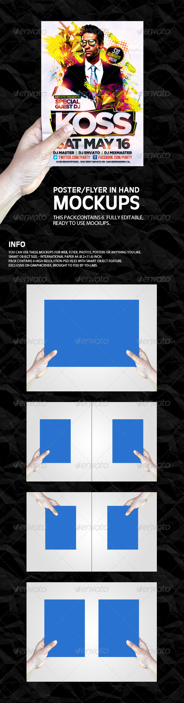 GraphicRiver Flyer Poster In Hand Mockups 5121989