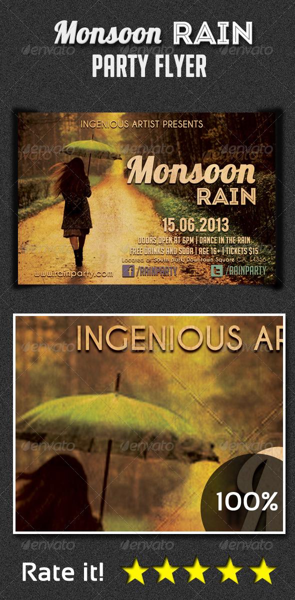 Monsoon Rain Party Flyer