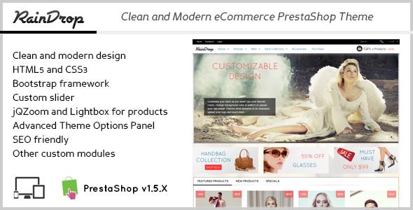 ThemeForest RainDrop Clean eCommerce PrestaShop Theme 5123293