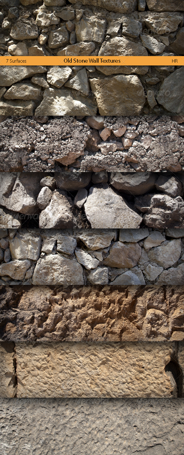 GraphicRiver Old Stone Wall Surfaces Textures 5123461