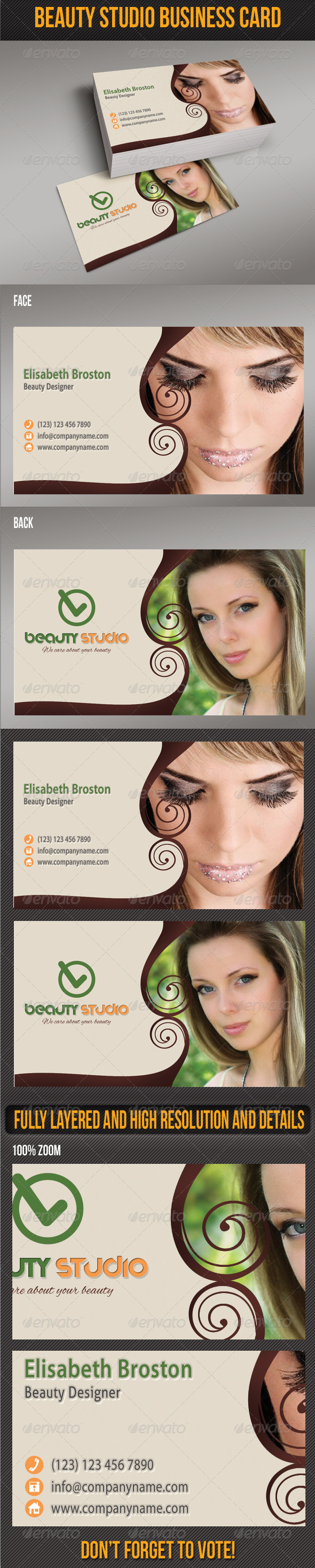GraphicRiver Beauty Studio Business Card 5123484
