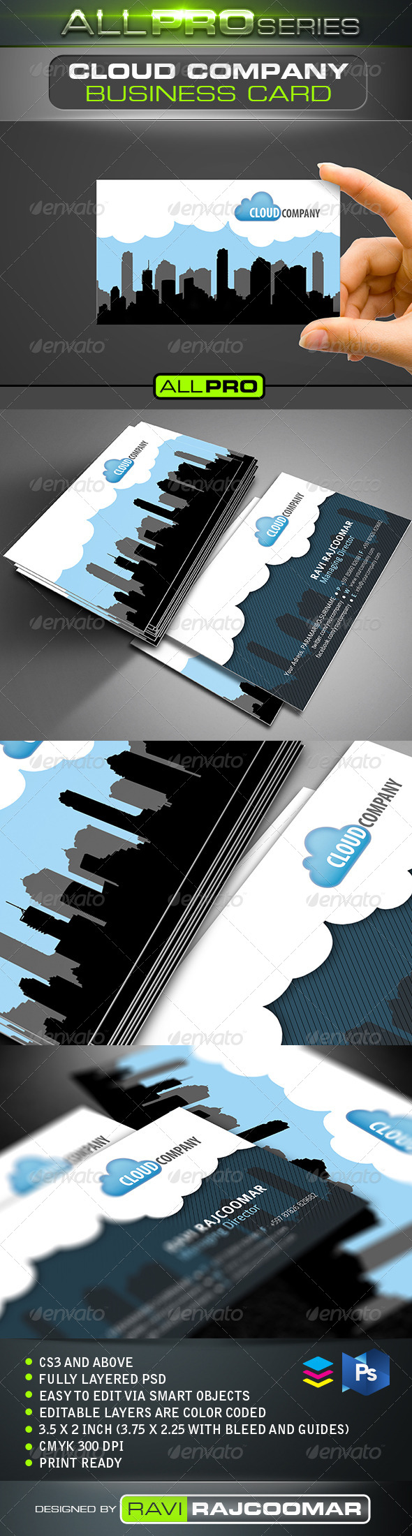 Cloud Company Business Card - Business Cards Print Templates