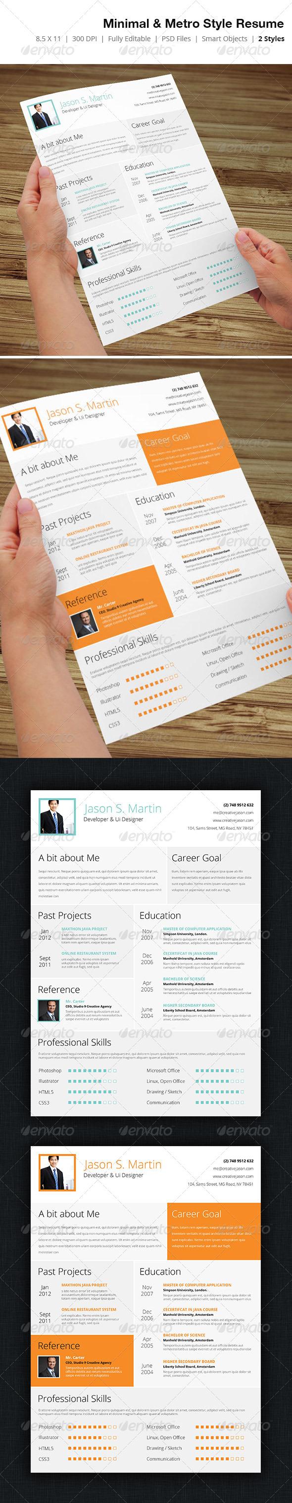GraphicRiver Metro & Minimal Style Business Resume 02 5065510