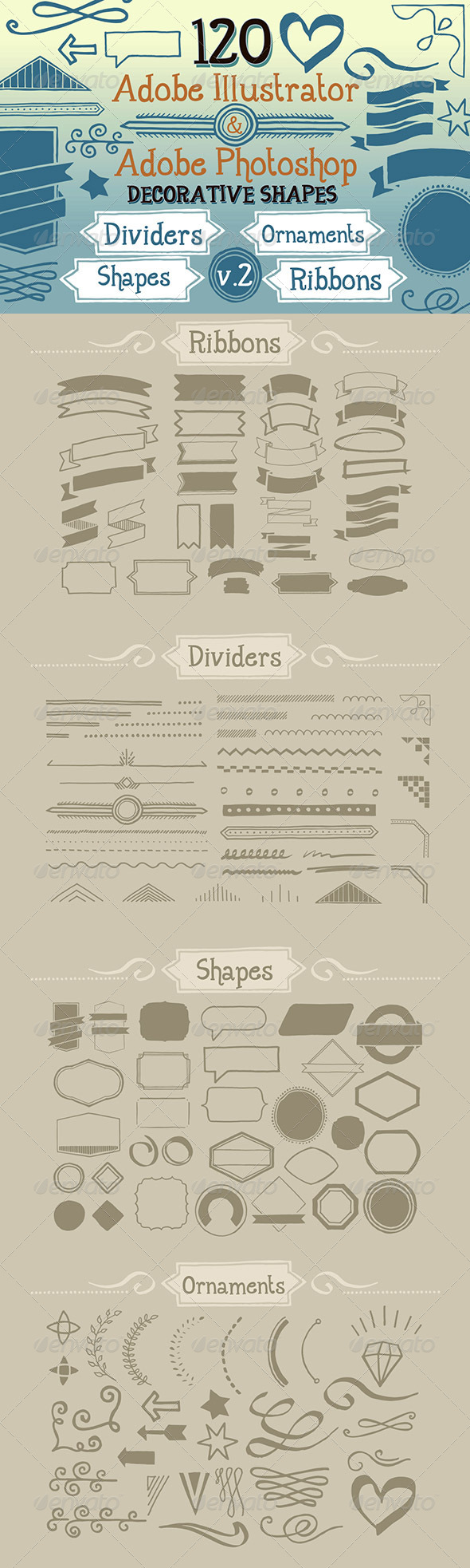 GraphicRiver 120 Handwritten Decorative Shapes 02 5123725
