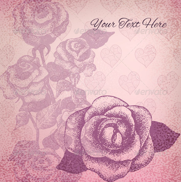 GraphicRiver Vector Card with Vintage Roses 5125014
