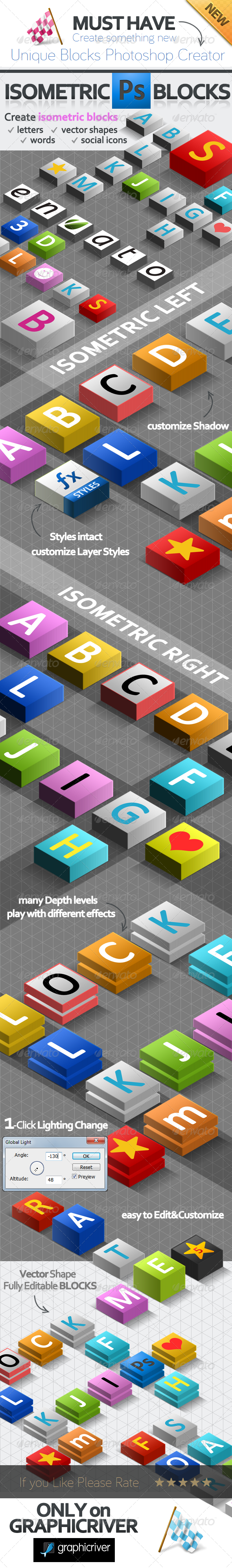 3D Isometric Blocks Photoshop Creator - Miscellaneous Print