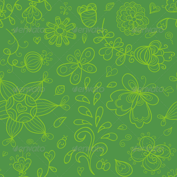 Seamless Pattern in Green Tints