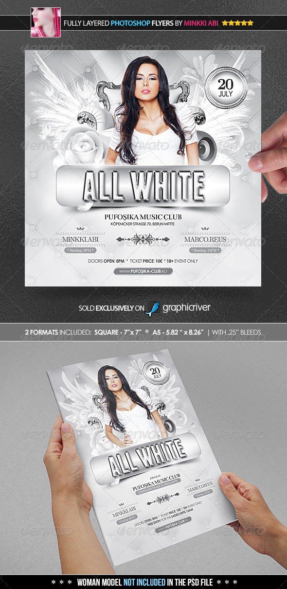 All White Poster/Flyer - Clubs & Parties Events