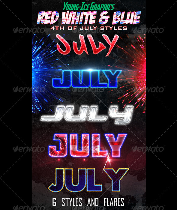GraphicRiver Red White & Blue Photoshop Styles 5111179