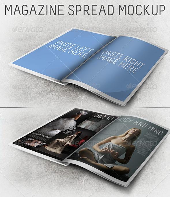 3D Magazine Spread Mockup - Magazines Print
