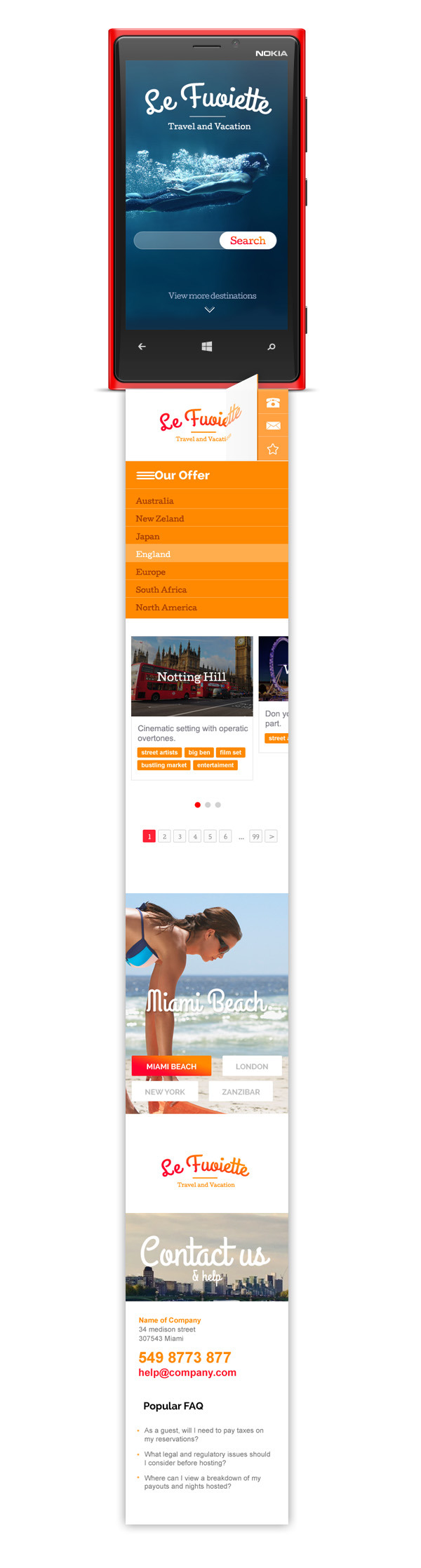 La Fouiette - Travel Agency one page Psd Template