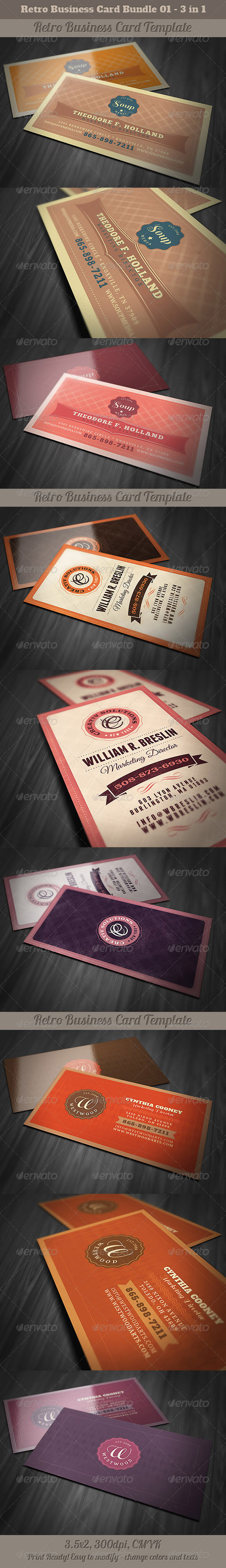 GraphicRiver Retro Business Cards Bundle 01 5127754