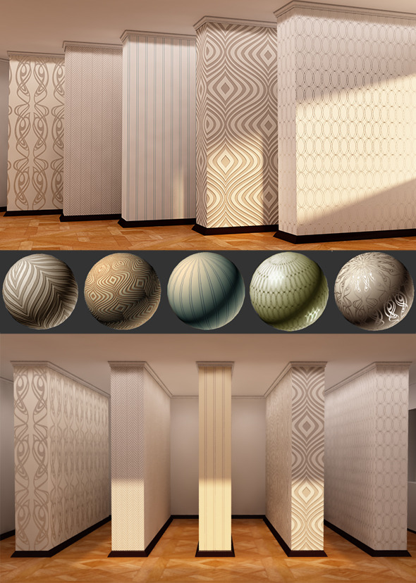 3DOcean 5 Popular Interior Wallpapers Vray Mats 5128283