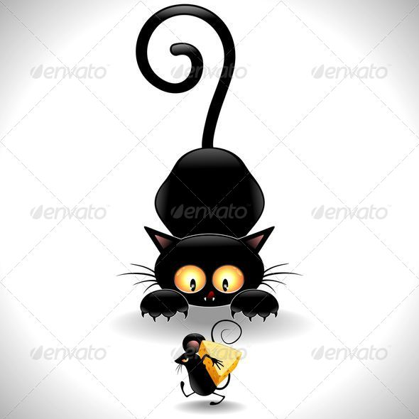 GraphicRiver Cat Cartoon in Ambush and Little Mouse 5128406