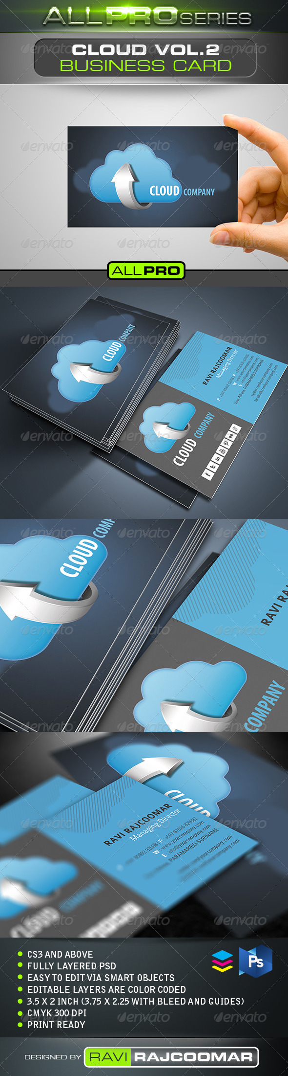 GraphicRiver Cloud Company Business Card Vol.2 5128765