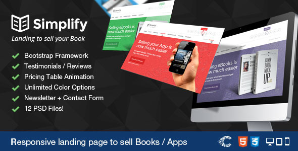 Simplify - Sell your Book / App Landing