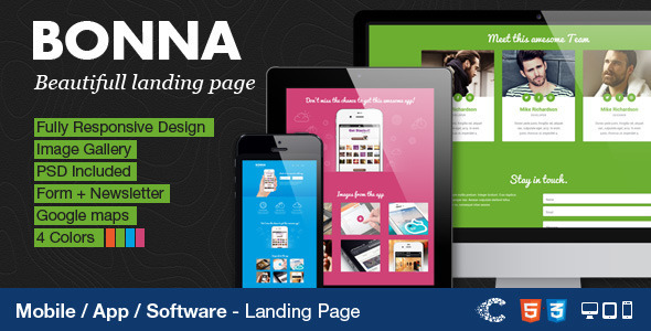 Bonna - Responsive Landing Page - Apps Technology