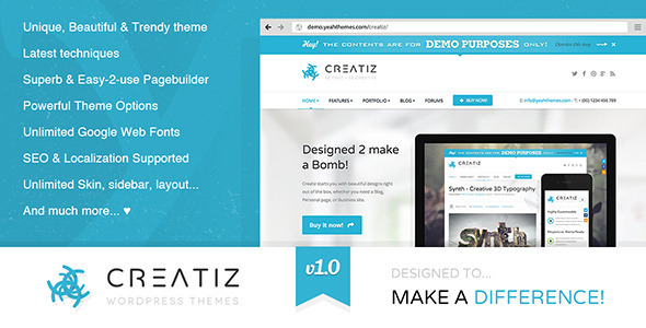 ThemeForest Creatiz WP theme Designed to make a difference 5125049