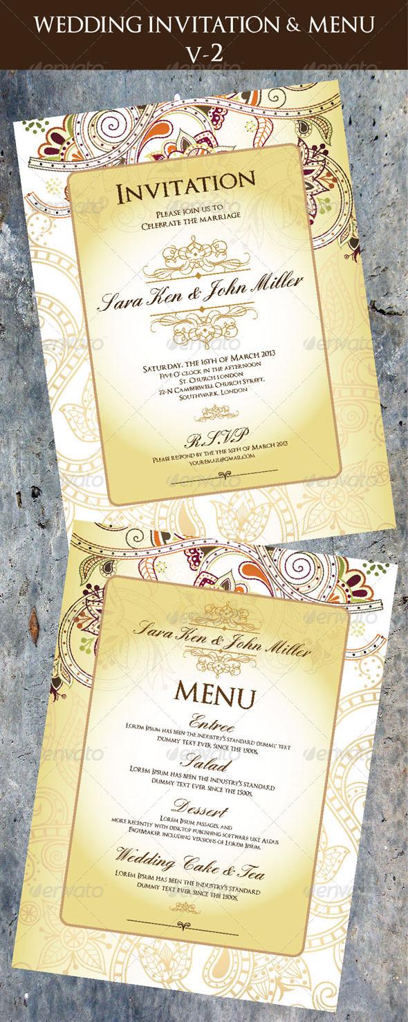 GraphicRiver Wedding Invitation & Menu Cards V-2 5129752