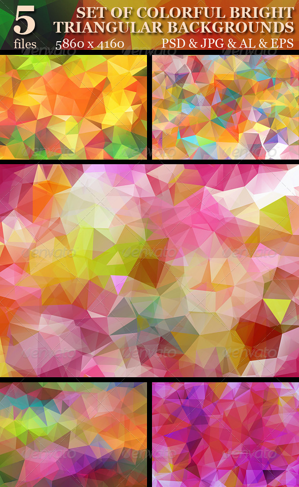GraphicRiver Set of colorful bright triangular backgrounds 5130054