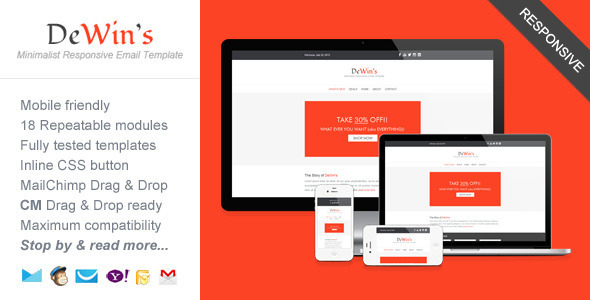 ThemeForest Professional Responsive Email Template DeWin s 5131310
