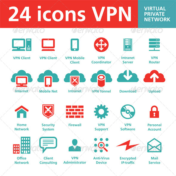 GraphicRiver 24 icons VPN Virtual Private Network 5131898