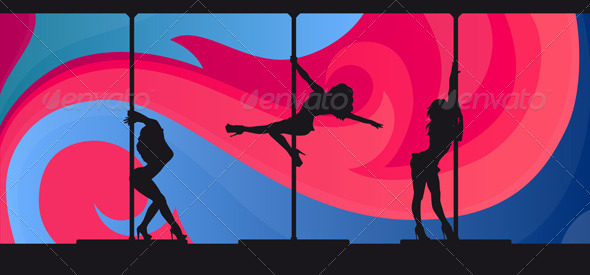 Silhouettes of Pole Dancers on Abstract Background by ...