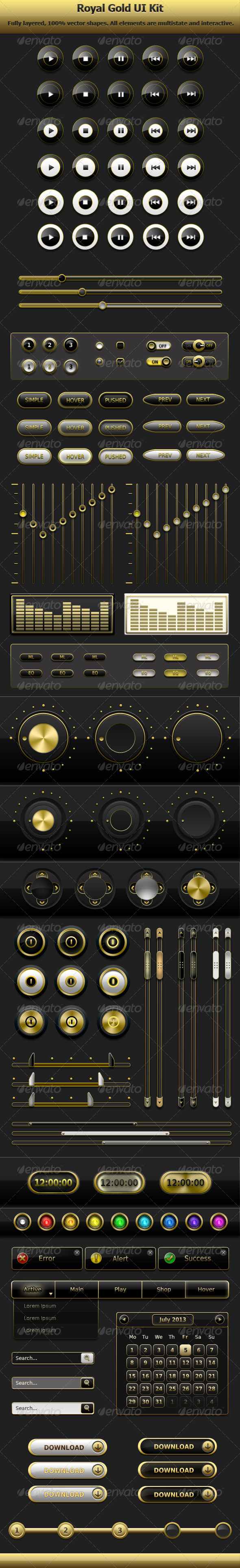 GraphicRiver Royal Gold User Interface Kit 5132840