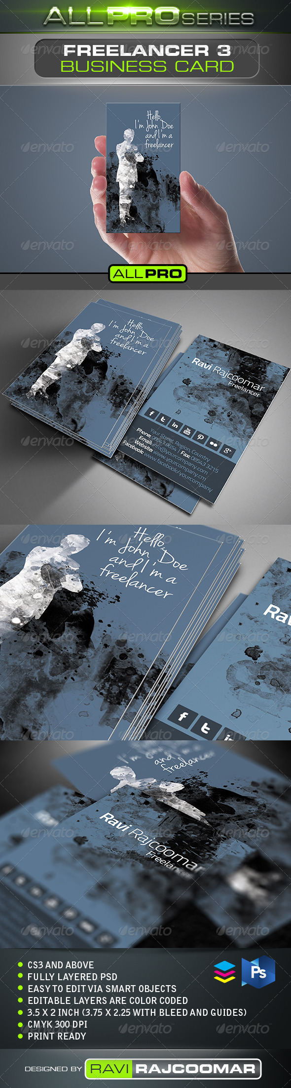 Freelancer Business Card Vol.3 - Business Cards Print Templates