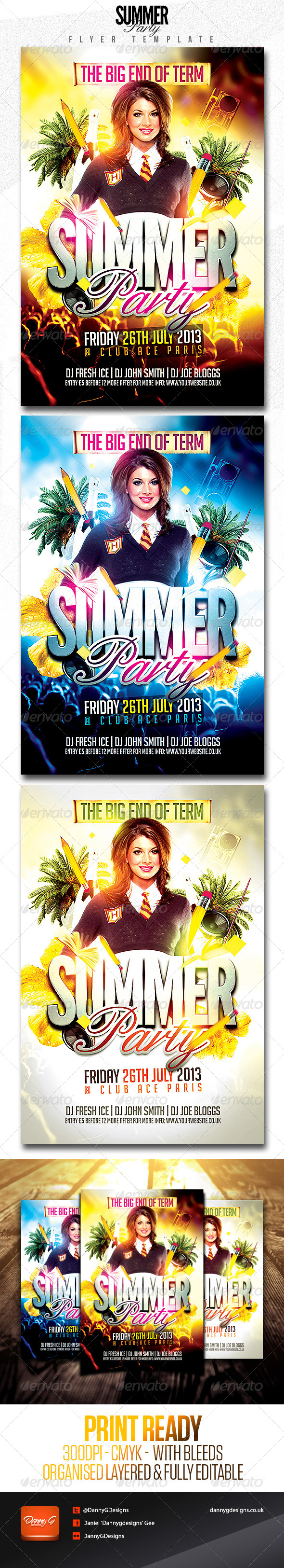 End of Term Summer Party Flyer Template - Clubs & Parties Events