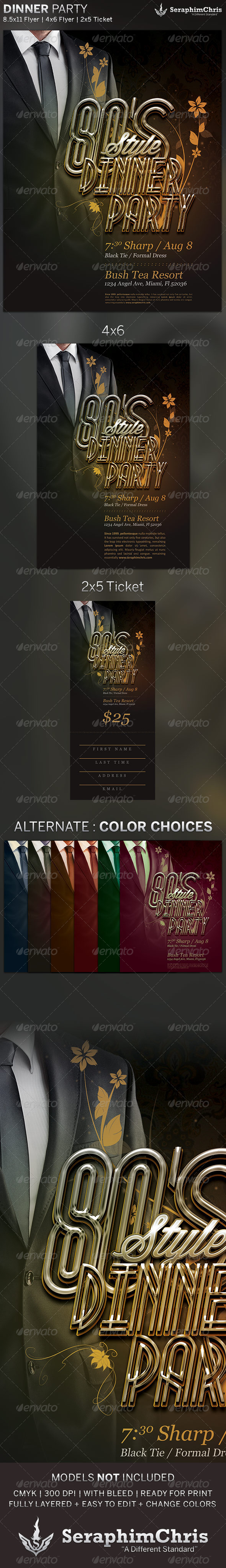 GraphicRiver 80 s Dinner Party Flyer and Ticket Template 5134715