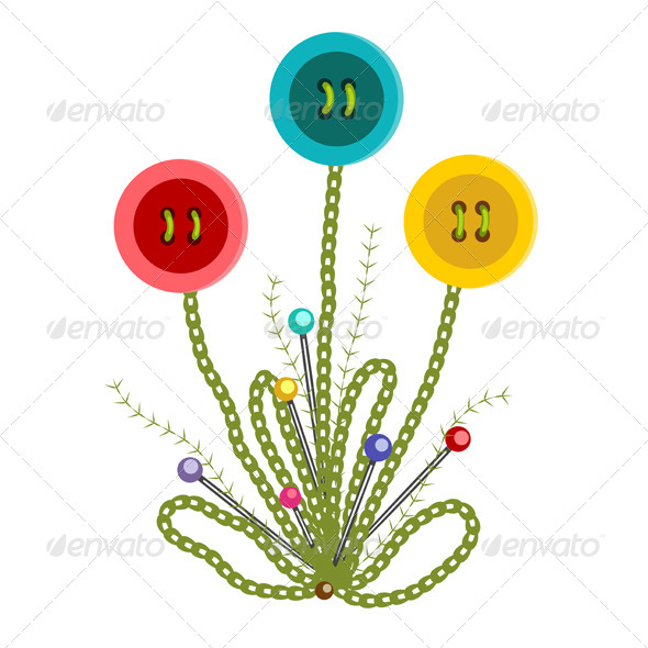 GraphicRiver Colorful Embroidered Buttons Flowers 5135223