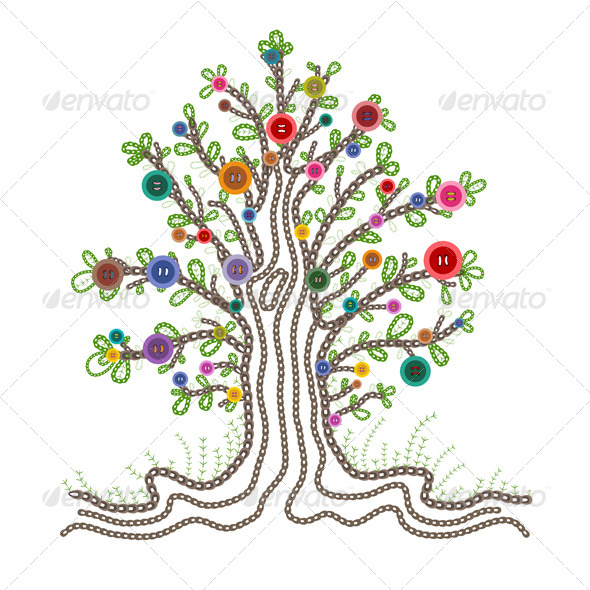 GraphicRiver Colorful Embroidered Tree with Buttons Fruits 5135388