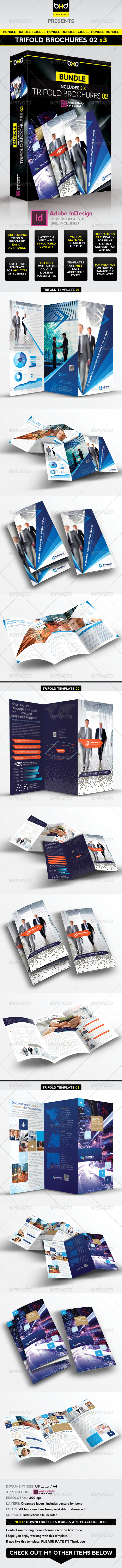 Trifold Brochures Bundle - InDesign Layout 02 - Corporate Brochures