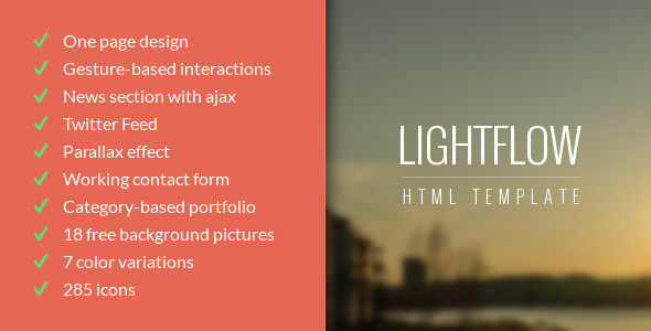 Lightflow - Responsive One Page Parallax Template (Portfolio)