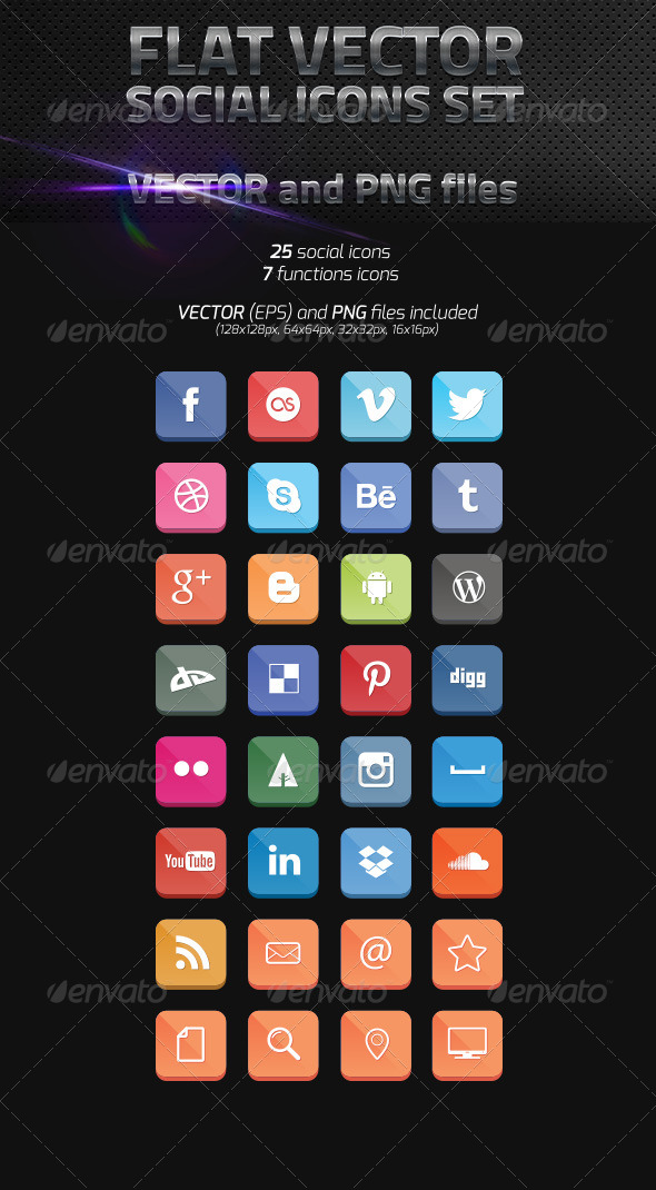 GraphicRiver Flat Vector Social Icons 5136736
